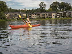 United States, Washignton, Bellevue, kayaking in Meydenbauer Bay MR