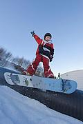 Winter sports in Iceland. Having fun in Akureyri, Iceland.