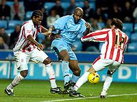 Photo: Ed Godden.<br />Coventry City v Stoke City. Coca Cola Championship. 02/12/2006. Coventry's Dele Adebola (centre), makes his way forward.