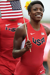 Olympic Trials Eugene 2012: Olympians wearing USA uniforms on victory lap, Alysia Montano