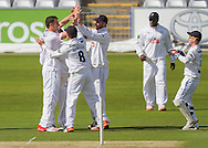 Adam Wheater (Hampshire CCC) celebrates with team mates after taking the wicket of Scott Borthwick (Durham County Cricket Club) during the LV County Championship Div 1 match between Durham County Cricket Club and Hampshire County Cricket Club at the Emirates Durham ICG Ground, Chester-le-Street, United Kingdom on 1 September 2015. Photo by George Ledger.