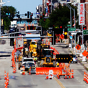 View up Main Street in downtown Kansas City, Missouri from near 20th Street. Preparations for construction of downtown Kansas City streetcar.