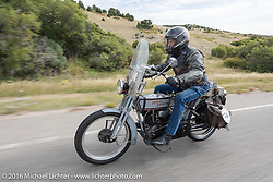 Rowdy Schenck of New Mexico riding his 1915 Harley-Davidson during the Motorcycle Cannonball Race of the Century. Stage-10 ride from Pueblo, CO to Durango, CO. USA. Tuesday September 20, 2016. Photography ©2016 Michael Lichter.