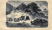 Tumulus according to the French illustrator Emile Bayard (1837-1891), illustration Artwork published in Primitive Man by Louis Figuier (1819-1894), Published in London by Chapman and Hall 193 Piccadilly in 1870