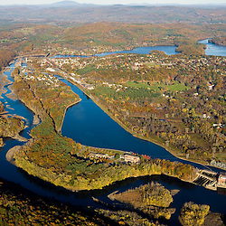 The Connecticut River, canal, and reservoir at Turners Falls, Massachusetts.