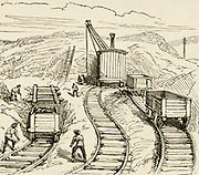 'Cutting the entrance for the Severn tunnel (1873-1886) to take the Great Western Railway under the River Severn to link England and Wales. Engineer: John Hawkshaw (1811-1891) Engraving, 1892.'