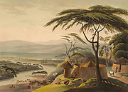 The Town of Leetakoo hand colored plate from the collection of  ' African scenery and animals ' by Daniell, Samuel, 1775-1811 and Daniell, William, 1769-1837 published 1804