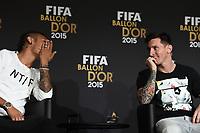 Zurich (Svizzera) 11/01/2016 - Fifa Ballon d'Or 2015 Pallone d'Oro / foto Matteo Gribaudi/Image Sport/Insidefoto<br />nella foto: Lionel Messi-Neymar
