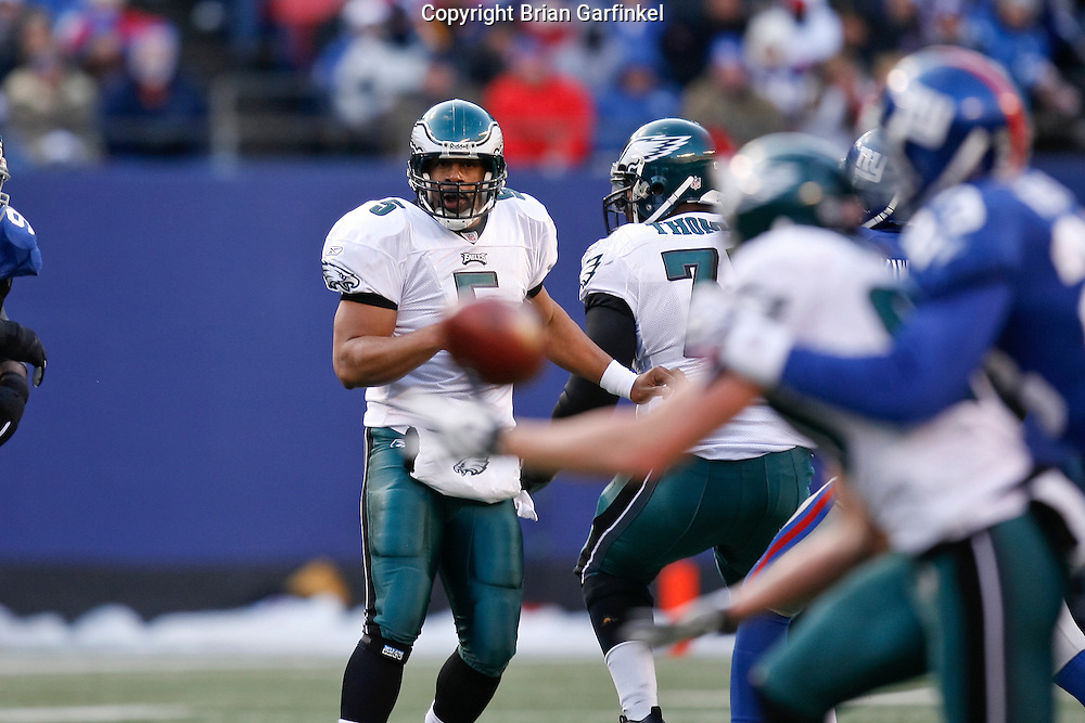 11 Jan 2009: Philadelphia Eagles quarterback Donovan McNabb #5 throws a pass during the game against the New York Giants on January 11th, 2009.  The  Eagles won 23-11 at Giants Stadium in East Rutherford, New Jersey.