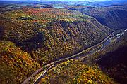 Aerial, Pine Creek Gorge and Pine Creek. Autumn, Pennsylvania