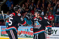 KELOWNA, CANADA - SEPTEMBER 24: Cal Foote #25 and Jonathan Smart #6 of the Kelowna Rockets celebrate a goal against the Kamloops Blazers on September 24, 2016 at Prospera Place in Kelowna, British Columbia, Canada.  (Photo by Marissa Baecker/Shoot the Breeze)  *** Local Caption *** Cal Foote; Jonathan Smart;