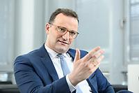 05 MAY 2021, BERLIN/GERMANY:<br /> Jens Spahn, CDU, Bundesgesundheitsminister, wahrend einem Interview, in seinem Buero, Bundesministerium fur Gesundheit<br /> IMAGE: 202105005-01-008