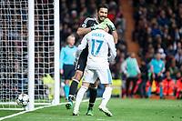 Real Madrid Lucas Vazquez and Juventus Gianluigi Buffon during Champion League match between Real Madrid and Juventus at Santiago Bernabeu Stadium in Madrid, Spain. April 11, 2018. (ALTERPHOTOS/Borja B.Hojas)