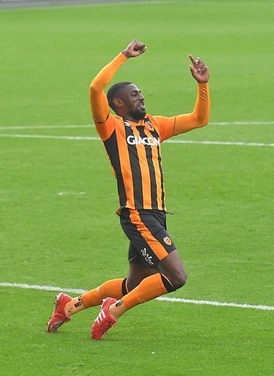 Hull City's Hakeed Adelakun celebrates scoring his team's opening goal<br /> <br /> Photographer Dave Howarth/CameraSport<br /> <br /> The EFL Sky Bet League One - Hull City v Plymouth Argyle - Saturday 3rd October 2020 - KCOM Stadium - Kingston upon Hull<br /> <br /> World Copyright © 2020 CameraSport. All rights reserved. 43 Linden Ave. Countesthorpe. Leicester. England. LE8 5PG - Tel: +44 (0) 116 277 4147 - admin@camerasport.com - www.camerasport.com