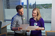 20150531, Tuesday, May 31, 2016, Boston, MA, USA, Brigham and Women's Hospital Development Newsletter imagery.<br /> <br /> Brigham and Women's Hospital medical residents Elizabeth Richey, MD, and Constantinos Michaeldis, MD MS, are working cooperatively on a research project supported by a generous gift to Brigham and Women's Hospital.<br /> <br /> ( lightchaser photography © 2016 )