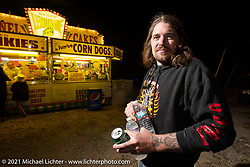 Dan Bacon Carr could be looking for a fried Twinkie. Tennessee Motorcycles and Music Revival at Loretta Lynn's Ranch. Hurricane Mills, TN, USA. Thursday, May 20, 2021. Photography ©2021 Michael Lichter.