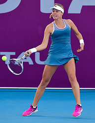 DOHA, Feb. 13, 2019  Anett Kontaveit of Estonia hits a return during the single's first round match against Zhu Lin of China at the 2019 WTA Qatar Open in Doha, Qatar, on Feb. 12, 2019. Anett Kontaveit won 2-0. (Credit Image: © Yangyuanyong/Xinhua via ZUMA Wire)