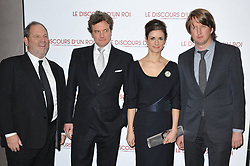 Producer Harvey Weinstein, Actor Colin Firth and wife Livia Giuggioli and Director Tom Hooper attending the premiere of the film 'Le Discours D'Un Roi' held at the Cinema UGC Normandie in Paris, France, on January 4, 2011. Photo Thierry Orban/ABACAPRESS.COM    258756_001
