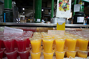 Fruit juice stall at Borough Market in London, England, United Kingdom. Borough Market is a retail food market and farmers market in Southwark. It is one of the largest and oldest food markets in London, with a market on the site dating back to at least the 12th century. A farmers market is a physical retail marketplace intended to sell foods directly by farmers to consumers. Farmers markets may be indoors or outdoors and typically consist of booths, tables or stands where farmers sell fruits, vegetables, meats, cheeses, and sometimes prepared foods and beverages.