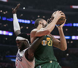 January 16, 2019 - Los Angeles, California, United States of America - Montrezl Harrell #5 of the Los Angeles Clippers battles Rudy Gobert #27 of the Utah Jazz for the ball during their NBA game  on Wednesday January 16, 2019 at the Staples Center in Los Angeles, California. Clippers lose to Jazz, 129-109. JAVIER ROJAS/PI (Credit Image: © Prensa Internacional via ZUMA Wire)