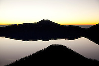 Unique view of Wizard Island and Crater Lake National Park, OR.