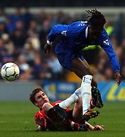 Photo. Javier Garcia<br />22/02/2003 Chelsea v Blackburn, FA Barclaycard Premiership, Stamford Bridge<br />Blackburn's Nils Eric Johansson slides into Mario Melchiot