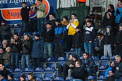 Fans in the South stand during the second half.<br /> Falkirk 1 v 0 Queen of the South, Scottish Championship game today at the Falkirk Stadium.<br /> © Michael Schofield.