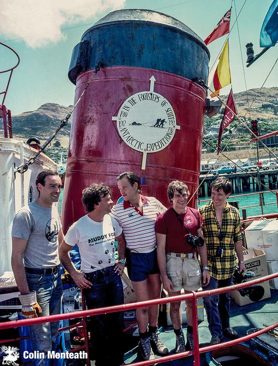 Footsteps of Scott Expedition depart Lyttelton New Zealand for Ross Island, Antarctica January 1985 - L to R: Gareth Wood,  Mike Stroud, Robert Swan, Roger Mear, John Tilson.
