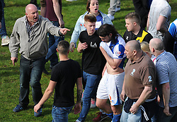 Bristol Rovers' John-Joe OToole clashes with fans after the game. - Photo mandatory by-line: Alex James/JMP - Mobile: 07966 386802 03/05/2014 - SPORT - FOOTBALL - Bristol - Memorial Stadium - Bristol Rovers v Mansfield - Sky Bet League Two
