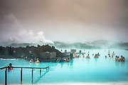 Grindavik, Iceland, 31 mar 2019, The blue water of the Blue lagoon Spa is full of silica, salts and algae. Situated on a geothermal lava field that rises the temperature of the water up to almost 40°C.