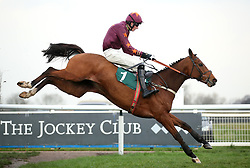 Marienstar ridden by Jack Andrews wins the Fourpenny Plate Mares' Novices' Handicap Chase at Warwick Racecourse.
