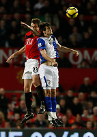Photo: Steve Bond/Richard Lane Photography. Manchester United v Blackburn Rovers. Barclays Premiership 2009/10. 31/10/2009. Jonny Evans (L) and Nikola Kalinic (R) ijn the aair