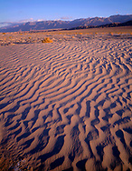 CADDV_017 - Textures in sand dunes at Mesquite Flats are defined by early morning light, Grapevine Mountains rise in the distance, Death Valley National Park, California, USA