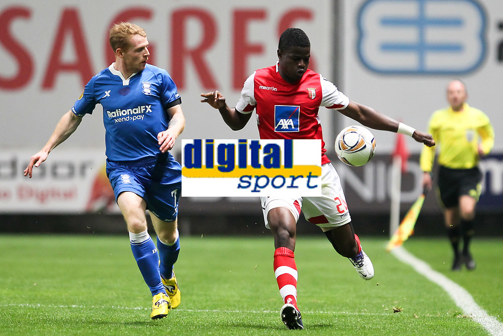 SC Braga vs. Birmingham City FC. UEFA Europa League, Group H, Round 5. In photo: Chris Burke (L) and Elderson, Braga. Braga, Portugal, 30 November.