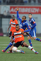 FOOTBALL - FRENCH CHAMPIONSHIP 2012/2013 - L1 - FC LORIENT v OLYMPIQUE LYONNAIS  - 7/10/2012 - PHOTO PASCAL ALLEE / DPPI - JACQUES-ALAIXYS ROMAO (FCL)/ JIMMY BRIAND (OL)