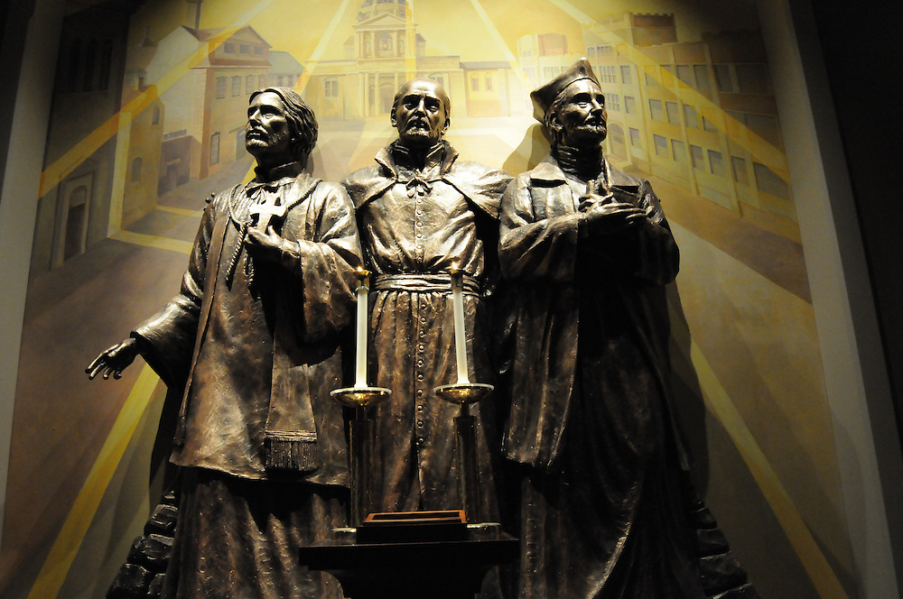 A statue of St. Ignatius Loyola, St. Francis Xavier and Bl. Peter Faber at  the Three Holy Companions Chapel in Marquette University High School, Wednesday Nov. 5 2008.  Many pieces in the Chapel, like this one, were done by local artisans.