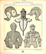 15th century knights and armour illustration from Geschichte des kostums in chronologischer entwicklung (History of the costume in chronological development) by Racinet, A. (Auguste), 1825-1893. and Rosenberg, Adolf, 1850-1906, Volume 3 printed in Berlin in 1888
