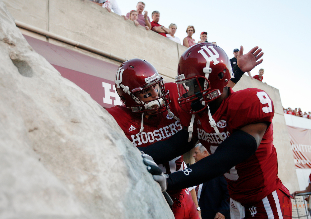 01 September 2007: Indiana touches the Rock before the Indiana Hoosiers played the Indiana State Sycamores in a college football game in Bloomington, Ind. Indiana won 55-7.