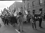 St Patrick's Day Parade.1982.17/03/1982.03.17.1982.Image as Los Angeles was represented at the parade this year, here the group waves to the viewing stand.