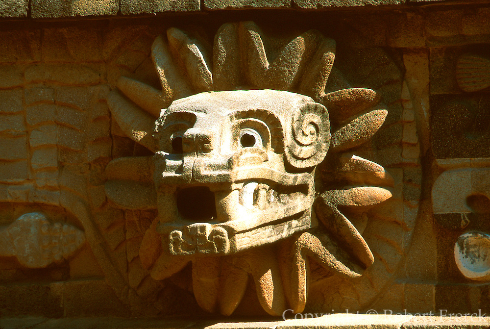 MEXICO, TEOTIHUACAN sculpture on Temple of Quetzalcoatl