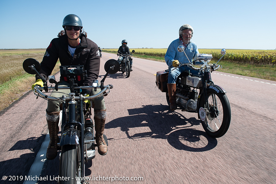 Andrea Labarbara and Frank Westfall riding in the Motorcycle Cannonball coast to coast vintage run. Stage 8 (314 miles) from Spirit Lake, IA to Pierre, SD. Saturday September 15, 2018. Photography ©2018 Michael Lichter.