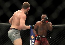 Leon Edwards (right) and Gunnar Nelson in action during their Welterweight bout during UFC Fight Night 147 at The O2 Arena, London.