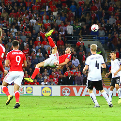 2/9/2017 - Gareth Bale's overhead kick goes narrowly wide  during the World Cup Qualifying fixture between Wales and Austria at Cardiff City Stadium.<br /> <br /> Pic: Mike Sheridan/County Times<br /> MS701-2017