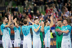 Players of National team of Slovenia after futsal quarterfinal match between National teams of Slovenia and Russia at Day 7 of UEFA Futsal EURO 2018, on February 5, 2018 in Arena Stozice, Ljubljana, Slovenia. Photo by Urban Urbanc / Sportida