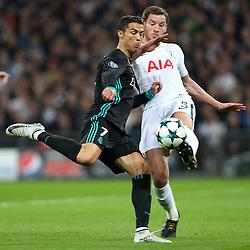 1 November 2017 - Champions League Football - Tottenham Hotspur v Real Madrid - Jan Vertonghen of Tottenham intercepts Cristiano Ronaldo of Real Madrid before he can take a shot - Photo: Charlotte Wilson / Offside