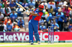 Afghanistan's Hazrat Zazai bats during the ICC Cricket World Cup group stage match at the Hampshire Bowl, Southampton.