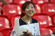 a female Spurs fan looks on before k/o.UEFA Champions league match, group E, Tottenham Hotspur v AS Monaco at Wembley Stadium in London on Wednesday 14th September 2016.<br /> pic by John Patrick Fletcher, Andrew Orchard sports photography.