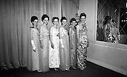 Rose of Tralee Ball at the Gresham Hotel. The six finalists: Olive Long, Tralee; Rosaleen Kelleher, Raheny; Margaret O'Rahilly, Tralee; Una Barrett, Terenure; and Phyllis Looney, Killarney..26.04.1967