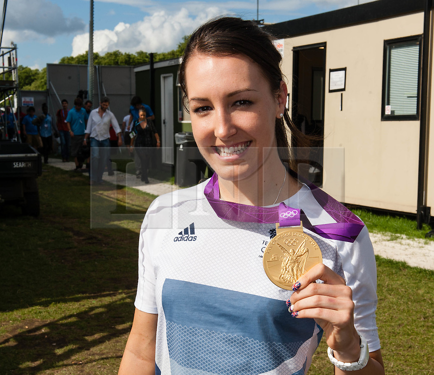 © Licensed to London News Pictures. 05/08/2012. London, UK.     Team GB gold medal winning cyclist Dani King at BT London Live, Hyde Park. Dani won a gold medal yesterday as part of the womens team pursuit.  Photo credit : Richard Isaac/LNP