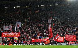 Liverpool fans hold up flags and banners in the kop - Mandatory by-line: Matt McNulty/JMP - 24/04/2018 - FOOTBALL - Anfield - Liverpool, England - Liverpool v Roma - UEFA Champions League Semi Final, 1st Leg